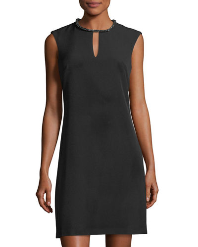 Donna Ricco Rhinestone-Trim Keyhole Sheath Dress