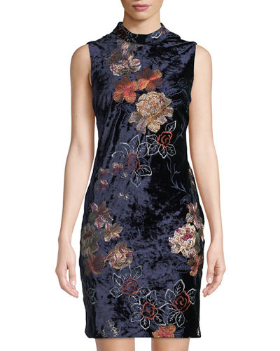 Mock-Neck Embroidered Velvet Dress