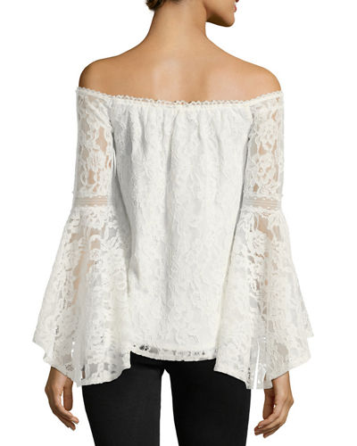 Off-The-Shoulder Lace Bell-Sleeve Top