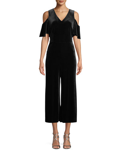 Cold-Shoulder Velvet Jumpsuit