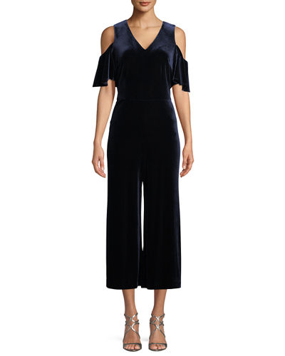 363bef479f6 Karl Lagerfeld Paris Cold-Shoulder Velvet Jumpsuit