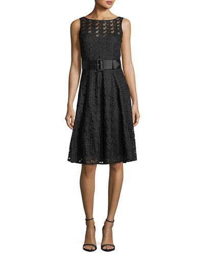 Belted Lace Fit & Flare Dress
