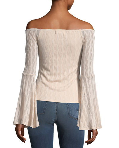 Cold-Shoulder Bell Sleeve Blouse
