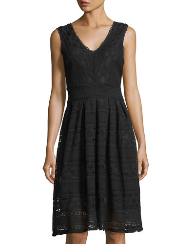 Lace Fit-and-Flare Sleeveless Dress