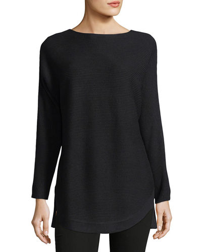 Ribbed Bateau-Neck Sweater