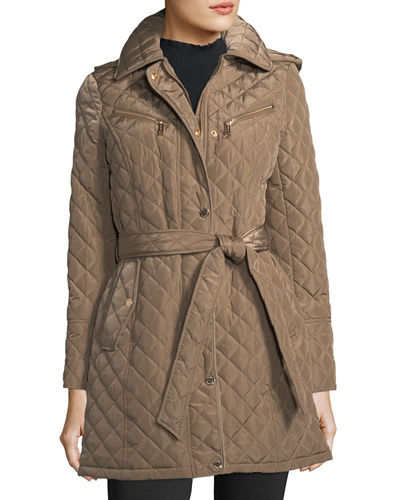 Michael Michael Kors Diamond Quilted Belted Jacket