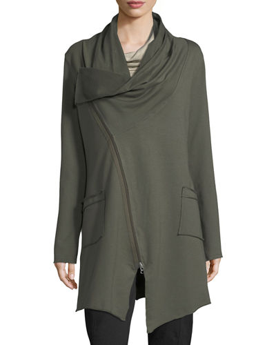 Neon Buddha Asymmetrical Zip-Car Coat