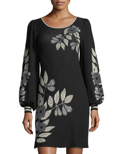 Max Studio Floral Jacquard Long-Sleeve Sweater Dress