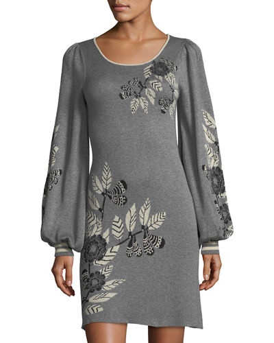 Floral Jacquard Long-Sleeve Sweater Dress