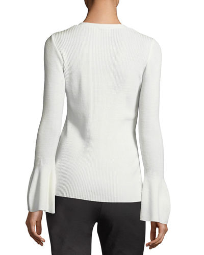 V-Neck Bell-Sleeve Ribbed Sweater