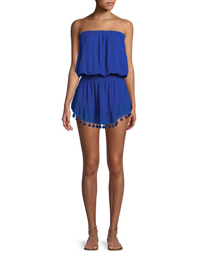 Marcie Strapless Coverup Dress with Pompoms