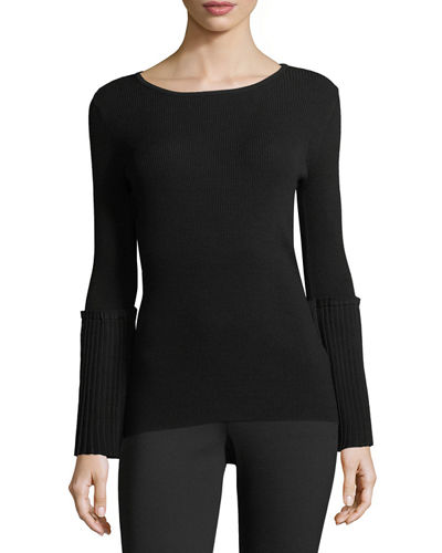Ribbed-Knit Sweater w/Pleated Bell Sleeves