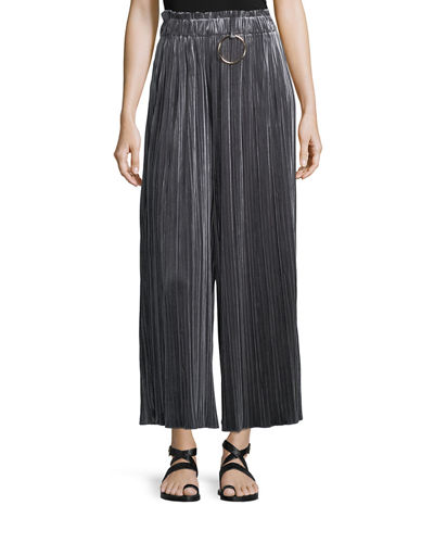 Pleated Crushed Velvet Pants