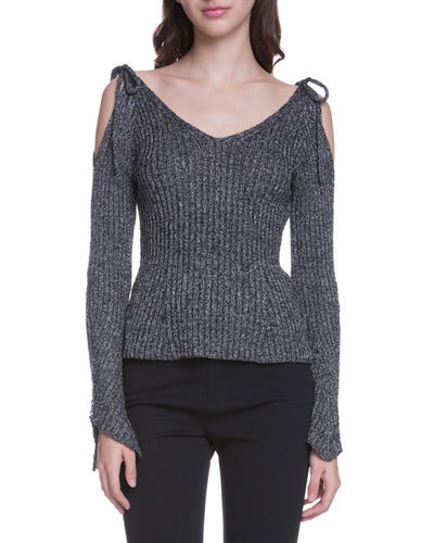 Cold-Shoulder Ribbed Sweater