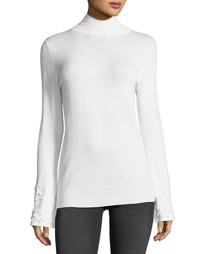 Beaded-Bell Sleeve Mock-Neck Sweater