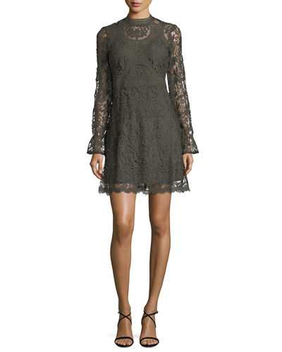 Long-Sleeve Lace Fit-&-Flare Dress