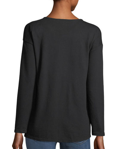 Ruched-Front Pullover Sweatshirt