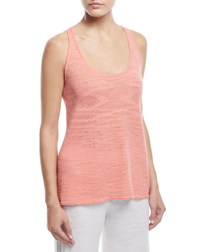 Minnie Rose LINEN-BLEND RACERBACK TANK, PLUS SIZE