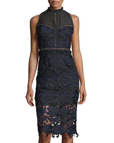 Mock-Neck Lace & Mesh Dress