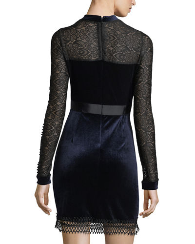 Velvet Lace-Yoke Dress