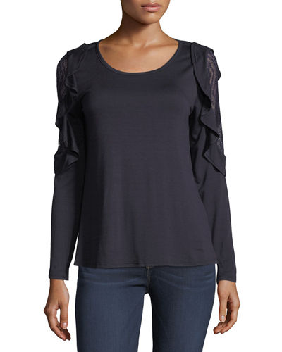 Lace-Inset Long-Sleeve Tee