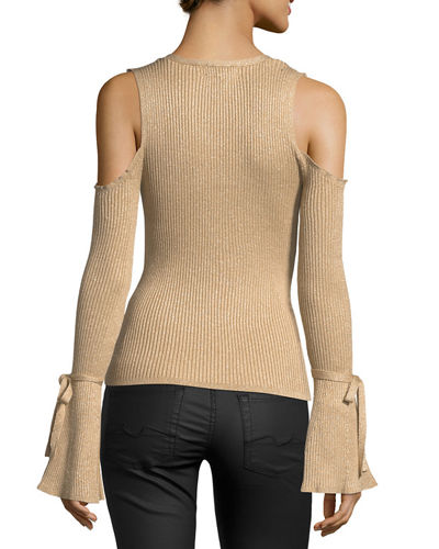 Cold-Shoulder Shimmer Sweater