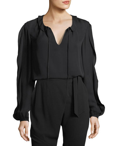 St. John Collection Stretch Silk Self-Tie Top
