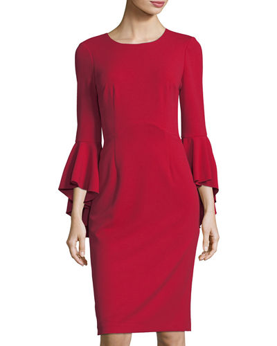 Sasha Crepe Bell-Sleeve Cocktail Dress