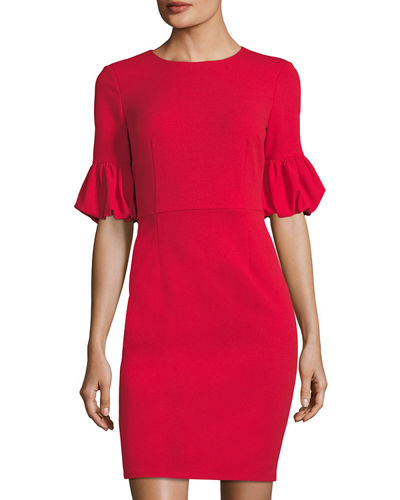 Lantern-Sleeve Sheath Dress