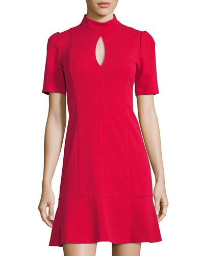 Donna Morgan Mock-Neck Keyhole Flounce Dress