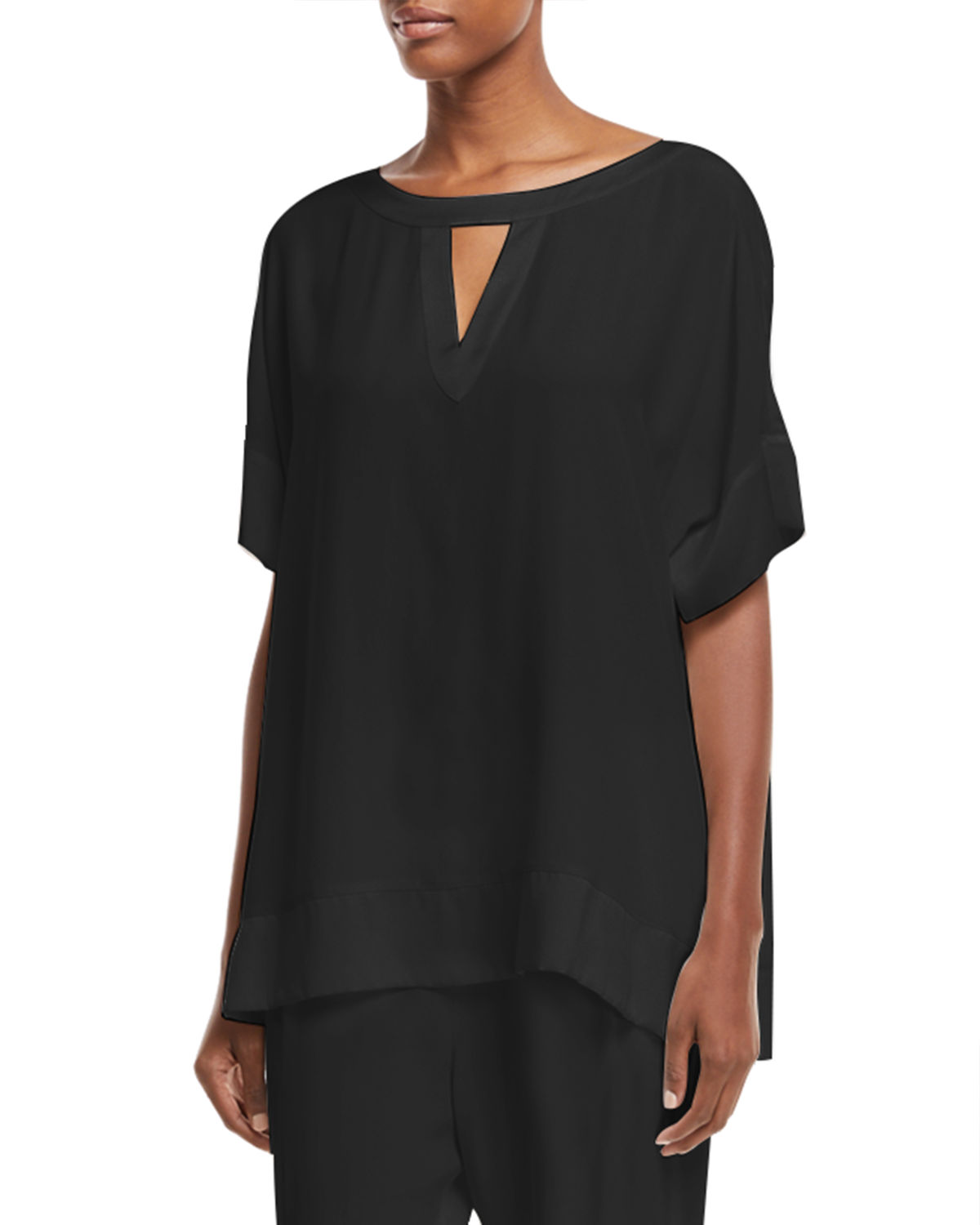 Go Silk SILK CREPE OPEN-DETAIL TOP, PLUS SIZE