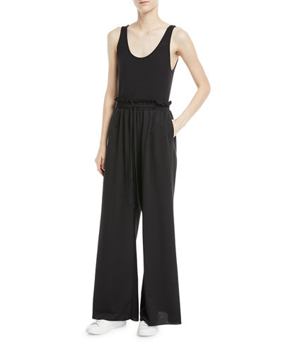 Ribbed-Top Wide-Leg Jumpsuit