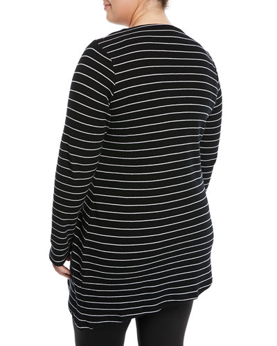 Draped Striped Thermal Tunic, Plus