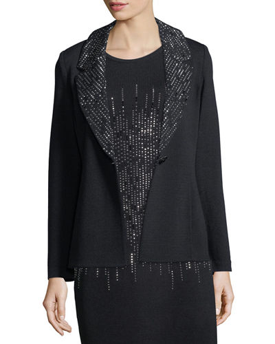 Sparkle Lapel Knit Blazer