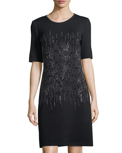 Embellished Knit Half-Sleeve Sheath Dress