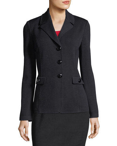 Santana Knit Blazer W/ Pocket Flap Detail