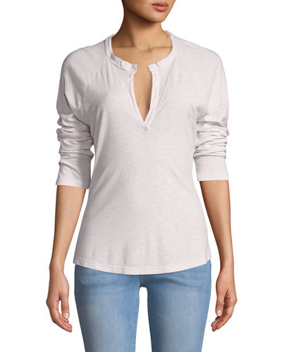 Open-Henley Long-Sleeve Tee