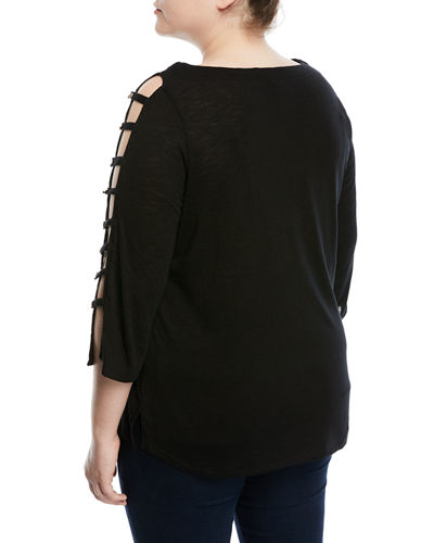 Ladder-Sleeve Tee, Plus Size