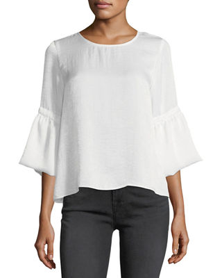 WAVERLY GREY Satin 3/4-Bell-Sleeve Top in White