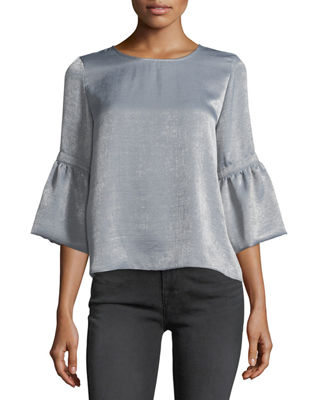 WAVERLY GREY Satin 3/4-Bell-Sleeve Top in Silver