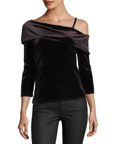 Margerie Velvet One-Shoulder Top