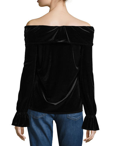 Off-Shoulder Ruffled Velvet Date Night Top