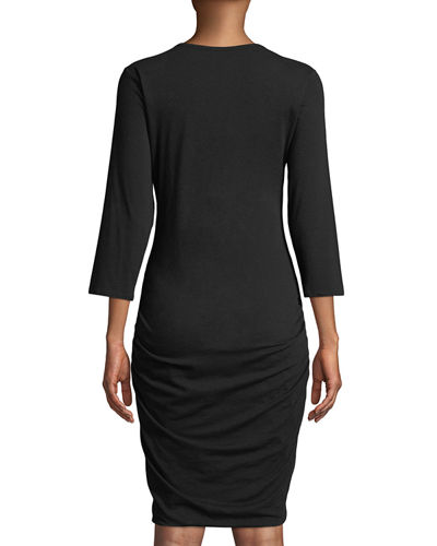 Ruched 3/4-Sleeve Dress