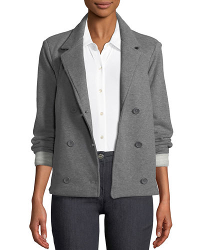 Double-Breasted Stretch-Cotton Blazer
