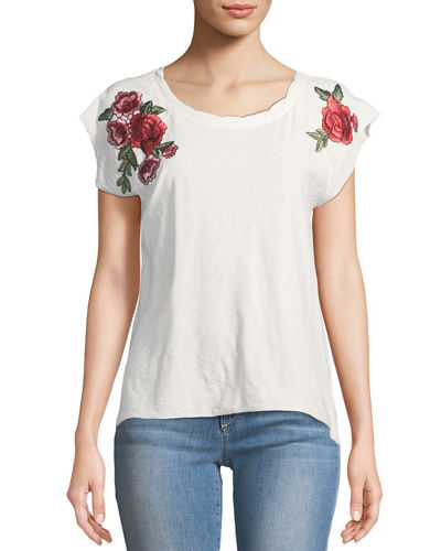 Floral-Embroidered Cap-Sleeve Tee