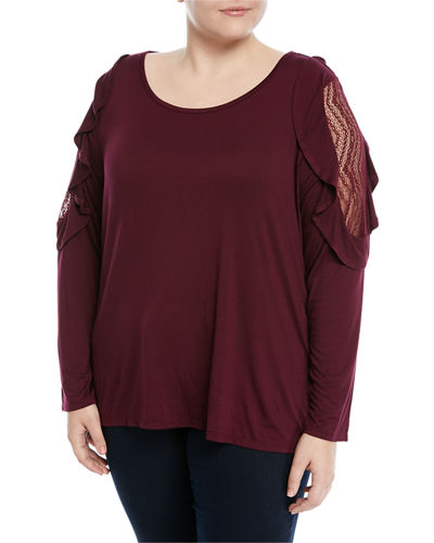 Lace-Shoulder Long-Sleeve Tee, Plus Size