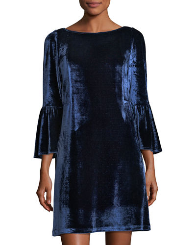 Bell-Sleeve Velvet Shift Dress