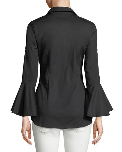 Cold-Shoulder Poplin Blouse