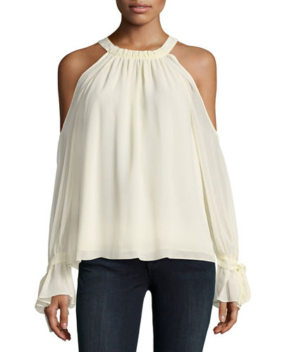 Silk Cold-Shoulder Halter Blouse