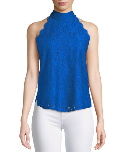 Jemmie Floral Lace High-Neck Top